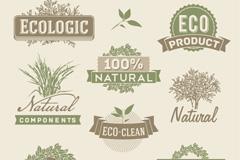 复古自然生态标签矢量素材
