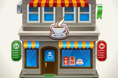 卡通咖啡店矢量素材