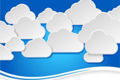清新云朵标贴画矢量素材
