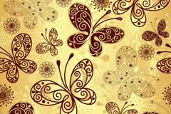 金色蝴蝶花纹背景矢量素材