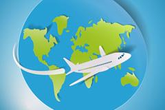 环球航班旅游剪贴画矢量素材