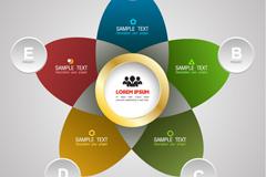 五色花信息解析模板矢量素材