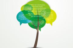 抽象彩色对话框树木矢量素材