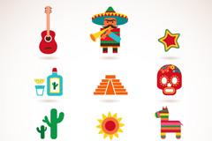 卡通墨西哥特色图标矢量素材
