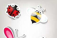 卡通昆虫标贴矢量素材