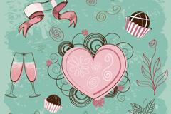 浪漫爱心甜点矢量素材