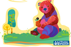 彩绘熊矢量素材