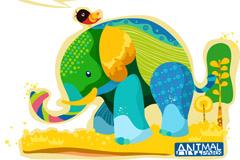 彩绘大象矢量素材