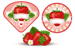 新鲜草莓标签矢量素材
