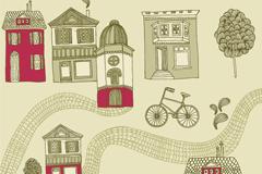 怀旧街景插画矢量素材