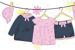 卡通女婴服装矢量素材