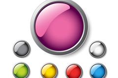 晶莹质感按钮矢量素材