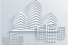 创意建筑剪纸矢量素材