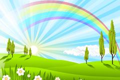 绚丽彩虹风景矢量素材