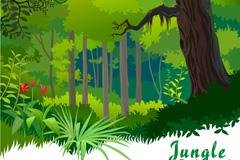 卡通热带森林矢量素材