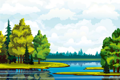 卡通森林湖泊风光矢量素材