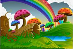 彩虹蘑菇林矢量素材