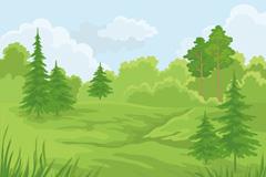 清新森林风景矢量素材