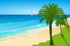 卡通沙滩风景矢量素材