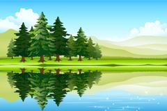 优美湖泊森林风景矢量素材