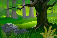 原始森林风光矢量素材