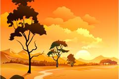 夕阳风景矢量素材
