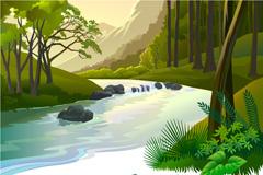 森林溪谷矢量素材