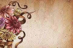 非洲菊花束背景矢量素材