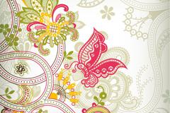 蝴蝶花纹背景矢量素材