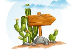 卡通沙漠仙人掌矢量素材