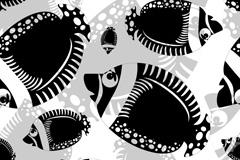 卡通黑色鱼群矢量素材