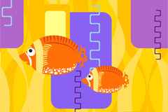 彩色热带鱼矢量素材