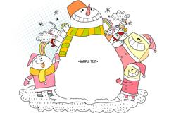 冬季雪人插画矢量素材