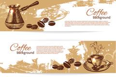 复古咖啡横幅矢量素材