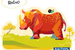 彩绘犀牛矢量素材
