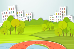 清新城市剪贴画矢量素材