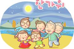 韩国卡通家庭矢量素材