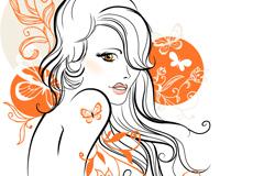 橙色花纹女郎矢量素材