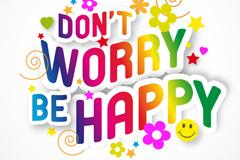 彩色快乐字体设计矢量素材
