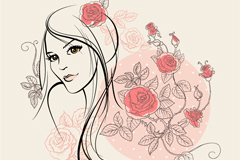 玫瑰花女郎矢量素材