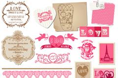 粉色情人节边框标贴矢量素材