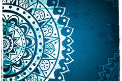蓝色圆盘花纹背景矢量素材