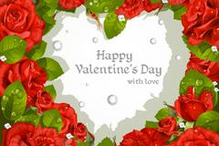 玫瑰爱心矢量素材