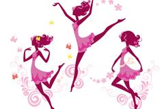 优雅舞蹈女孩矢量素材