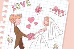 彩绘婚礼插画矢量素材