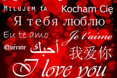 25种语言创意爱心字体矢量素材