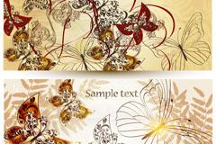 时尚花卉蝴蝶背景矢量素材