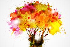 幻彩喷绘树木矢量素材