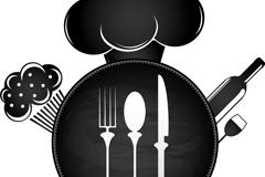 创意餐具背景矢量素材