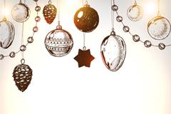 手绘圣诞吊饰矢量素材
